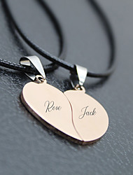 cheap -Personalized Customized Necklace Name Necklace Titanium Steel Classic Name Engraved Love Gift Promise Festival Heart Shape 2 PCS Black Rose Gold Gold / Laser Engraving