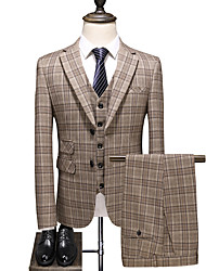 cheap -Khaki Checkered Slim Fit Polyester Suit - Notch Single Breasted Two-buttons