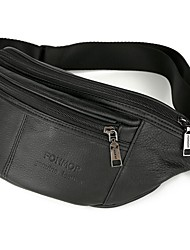 cheap -Men's Bags Nappa Leather Cowhide Fanny Pack Zipper Solid Color Bum Bag Daily Black