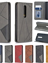 cheap -Case For Nokia Nokia 4.2 / Nokia 3.2 / Nokia 1 Plus Card Holder / Shockproof / with Stand Full Body Cases Geometric Pattern Hard PU Leather