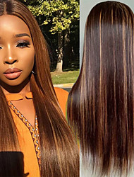 cheap -Human Hair Wig Medium Length Straight Middle Part Party Women Best Quality 4x4 Closure Lace Front Brazilian Hair Women's Dark Brown / Dark Auburn 8 inch 10 inch 12 inch