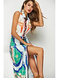 cheap -Women's Boho Shirt Dress - Rainbow Print Rainbow M L XL