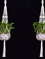 cheap -2PCS Macrame Plant Hanger Indoor Outdoor Hand Knit Hanging Planter Basket Net Cotton Rope with Beads