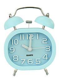 cheap -Fashion Oval Cute Twin Double Bell Desk Alarm Clock with Nightlight Loud Alarm (blue)