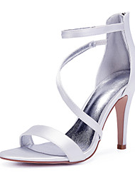 cheap -Women's Wedding Shoes High Heel Open Toe Wedding Party & Evening Satin Solid Colored White Black Purple