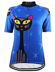 cheap -21Grams Cat Animal Women's Short Sleeve Cycling Jersey - Blue Bike Jersey Top Breathable Moisture Wicking Quick Dry Sports Terylene Mountain Bike MTB Road Bike Cycling Clothing Apparel / Race Fit