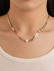 cheap -Women's Choker Necklace Necklace Classic Arrow Classic Vintage Ethnic Imitation Pearl Chrome Gold 49 cm Necklace Jewelry 1pc For Daily Carnival Work Festival