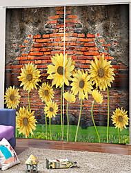 Недорогие -Горячие продажи красивые подсолнухи шторы прозрачный принт неувядающий затемняющий полиэфирная ткань толстые водонепроницаемые формовочные занавески для ванной