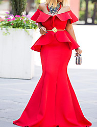 cheap -Mermaid / Trumpet Off Shoulder Sweep / Brush Train Polyester Sexy Formal Evening Dress 2020 with Sequin