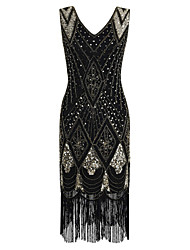 cheap -Sheath / Column V Neck Tea Length Polyester / Sequined Elegant / Vintage Inspired Cocktail Party / Holiday Dress 2020 with Beading / Sequin / Tassel