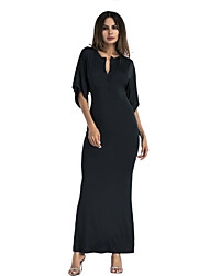 cheap -Women's Maxi Loose A Line Dress - Solid Colored Fashion with Belt V Neck Spring Yellow Wine Army Green L XL XXL