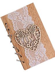 cheap -Elegant Wooden Wedding Notebook Wedding Anniversary Decoration Gift Souvenir Book