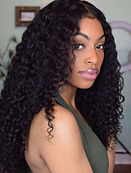 cheap -Remy Human Hair 13x6 Closure Wig Side Part style Brazilian Hair Curly Black Wig 130% 150% 180% Density Party Women Hot Sale Comfortable curling Women's Medium Length Human Hair Lace Wig Factory OEM