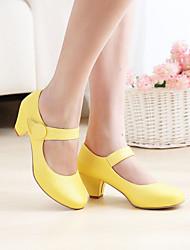 cheap -Women's Heels Cuban Heel Round Toe PU(Polyurethane) Minimalism Summer / Fall Black / Yellow / Pink