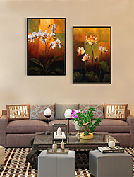 cheap -Framed Art Print Framed Set - Abstract Floral / Botanical PS Oil Painting Wall Art