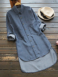 cheap -Women's Daily Wear Street Basic / Chinoiserie Plus Size Cotton Loose Shirt - Solid Colored Denim Shirt Collar Blue