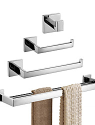 cheap -Stainless Steel 4-Piece Bathroom Hardware Set Wall Mounted Bathroom Holders Set Modern Towel Bars Set, Brushed Finish