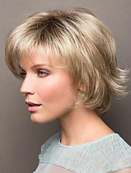 cheap -Synthetic Wig Natural Straight Asymmetrical Wig Blonde Short Light golden Synthetic Hair 8 inch Women's Party Women Blonde