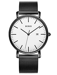 cheap -Men's Steel Band Watches Quartz Stainless Steel 30 m Water Resistant / Waterproof Calendar / date / day Analog Casual Fashion - White