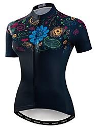 cheap -21Grams Women's Short Sleeve Cycling Jersey Black Floral Botanical Bike Jersey Top Mountain Bike MTB Road Bike Cycling Breathable Moisture Wicking Quick Dry Sports Polyester Elastane Terylene