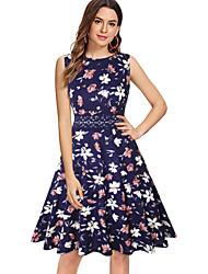 cheap -Vintage Inspired Dress Women's Spandex Costume Yellow / Blue / Blue / White Vintage Cosplay Sleeveless Knee Length / Dot