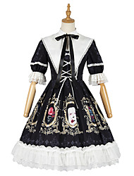 cheap -Special Design Classic Lolita Shiro& Kuro Lolita Dress Cosplay Costume Halloween Props Masquerade Girls' Female Chiffon Japanese Cosplay Costumes Black Print Pattern Color Block Puff / Balloon Sleeve