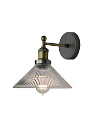 cheap -American Retro Industrial Metal Wall Light Transparent Vintage Wall Sconce Round Glass Shade Antique Bronze Finish Wall Light Fixture for Bedroom Bar