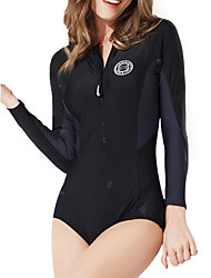 cheap -PHINIKISS Women's One Piece Swimsuit Patchwork Padded Bodysuit Swimwear Black Gray 3D Pad Fast Dry Wearable Long Sleeve - Swimming Diving Surfing / Nylon / Stretchy / Stretchy
