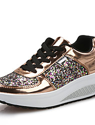 cheap -Women's Athletic Shoes Wedge Heel Round Toe PU Sporty / Casual Running Shoes / Walking Shoes Fall & Winter White / Gold / Silver