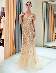 cheap -Mermaid / Trumpet V Neck Sweep / Brush Train Polyester / Tulle / Sequined Sparkle / Gold Formal Evening / Party Wear Dress with Sequin 2020