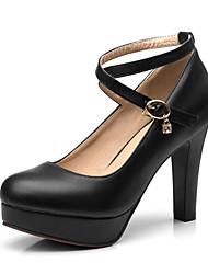 cheap -Women's Heels Chunky Heel PU(Polyurethane) Fall / Spring & Summer White / Black / Pink / Party & Evening