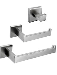 cheap -Towel Bar / Toilet Paper Holder / Robe Hook New Design / Creative Contemporary / Traditional Stainless Steel + A Grade ABS / Stainless Steel / Metal 3pcs - Bathroom Wall Mounted