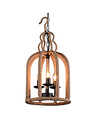 cheap -3-Light Hemp Rope Pendant Lamp Indoor Deco Light Chandeliers 3 Lights Bird Cages Shade Dining Table Kitchen Island Lights Hanging Chain Adjustable