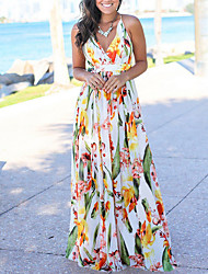 cheap -Women's Floral Maxi Yellow Red Dress Boho Summer Beach Swing Floral Strap Print S M