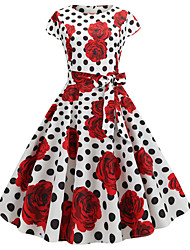 cheap -Audrey Hepburn Country Girl Polka Dots Retro Vintage 1950s Rockabilly Dress Masquerade Women's Costume White+Red Vintage Cosplay School Office Festival Sleeveless Medium Length A-Line
