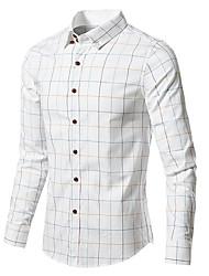 Недорогие -Муж. Шахматка Рубашка Классический Повседневные Белый / Синий / Красный / Хаки / Серый