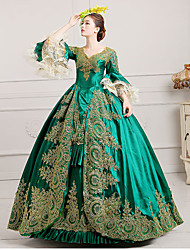 cheap -Marie Antoinette Rococo 18th Century Dress Ball Gown Headwear Women's Lace Satin Costume Black / Green / Burgundy Vintage Cosplay Party Prom Floor Length Ball Gown Plus Size Customized / Hat