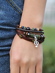 cheap -Men's Bead Bracelet Wrap Bracelet Vintage Bracelet Layered Music Notes Classic Vintage Ethnic Fashion Boho Cord Bracelet Jewelry Black / Brown For Daily School Street Holiday Festival