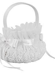 cheap -Meiyiu Pure White Romantic Rosette Wedding Flower Basket Flower Girl Basket Wedding Party Decoration