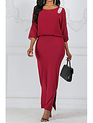 cheap -Women's Maxi Plus Size Wine Royal Blue Dress Basic Sheath Solid Colored L XL