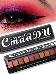 cheap -Brand CmaaDU 10 Color Eyeshadow Palettes With Brush Fashion Matte Pearl Flash Waterproof Durable Eye Makeup