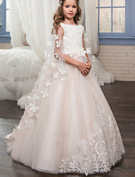 cheap -Princess Floor Length Wedding / Birthday / Pageant Flower Girl Dresses - Tulle Sleeveless Boat Neck with Lace / Appliques