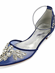 cheap -Women's Wedding Shoes Glitter Crystal Sequined Jeweled Plus Size Flat Heel Pointed Toe Vintage British Wedding Party & Evening Walking Shoes Satin Mesh Crystal Floral Solid Colored Summer White Black