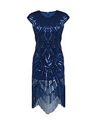 cheap -Diva Disco 1980s Fringed Dress Dress Women's Sequins Costume Blue Vintage Cosplay Prom Sleeveless Knee Length Sheath / Column