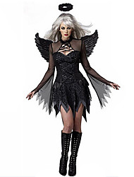 cheap -Angel / Devil Dress Wings Masquerade Feather Samba Headdress Adults' Women's Cosplay Halloween Christmas Halloween Carnival Festival / Holiday Tulle Polyster Black Women's Carnival Costumes Patchwork