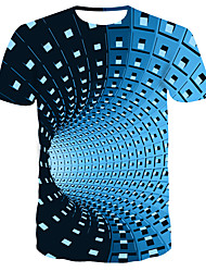 cheap -Men's Daily Wear Bar Street chic / Punk & Gothic T-shirt - Striped / Color Block Print Round Neck Blue / Short Sleeve