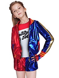 cheap -Burlesque Clown Joker Outfits Flower Girl Dress Girls' Movie Cosplay A-Line Slip Simple Style Red Coat Shirt Pants Masquerade Terylene PU(Polyurethane) / Gloves / Gloves