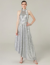 cheap -A-Line Chic & Modern Sparkle & Shine Prom Dress Halter Neck Sleeveless Asymmetrical Sequined with Sequin 2020