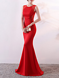 cheap -Mermaid / Trumpet Jewel Neck Sweep / Brush Train Satin Elegant & Luxurious / Elegant Formal Evening Dress with Beading 2020