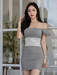 cheap -Women's Mini Dark Gray Dress Bodycon Solid Colored Off Shoulder S M Slim
